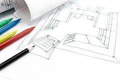 建筑师工作场所特写镜头图象 免版税库存照片