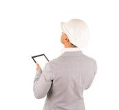 建筑师或使用片剂的房屋检查员 库存照片
