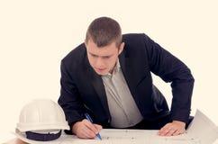 年轻建筑师或结构工程师 库存照片