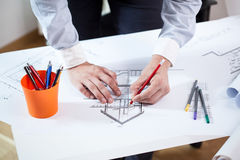 建筑师的特写镜头 免版税库存图片