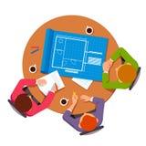 建筑师谈论建立计划的小组 向量例证