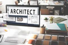 建筑师建筑学住房楼面布置图概念 免版税库存照片