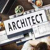 建筑师建筑学住房楼面布置图概念 免版税库存图片