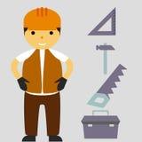 建筑平的象设置与建造者 免版税库存照片