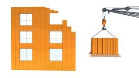 建筑房子和起重机 免版税图库摄影