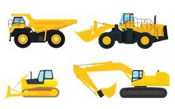 建筑机器汇集例证有黄色颜色和白色背景 向量例证