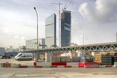 建筑材料和第三座环行路桥梁存贮  图库摄影