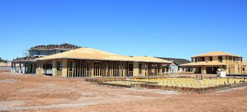 建筑构成的家庭新的住宅站点 库存图片