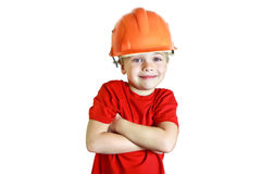 建筑盔甲的微笑的男孩 库存图片