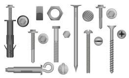 建筑硬件集合 螺栓、螺丝、坚果和铆钉 金属固定齿轮元件的传染媒介例证 库存例证