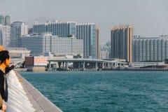 建筑群在红磡MTR驻地附近的香港 免版税库存照片