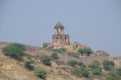 建筑老建筑一个堡垒在山的印度 免版税库存照片