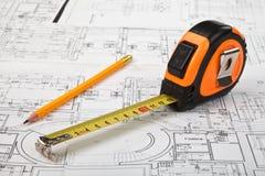 建筑草稿和工具背景 免版税库存图片