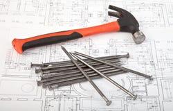建筑草稿和工具背景 免版税图库摄影