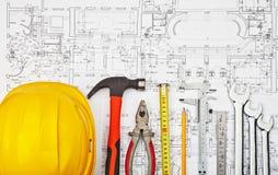 建筑草稿和工具背景 库存照片