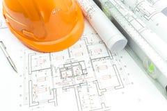 建筑计划和桔子 免版税库存照片