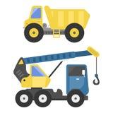 建筑送货卡车运输车搬家工人路机器设备传染媒介 库存例证