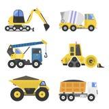 建筑送货卡车运输车搬家工人路机器设备传染媒介 皇族释放例证
