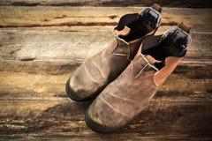 建筑防护脚穿戴 免版税库存照片