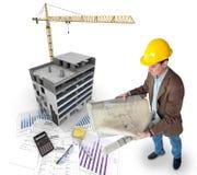 建筑项目,全视图 免版税库存图片