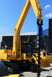 建筑黄色机器 免版税库存照片