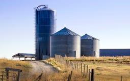 筒仓在一个农村农场的储存箱在爱达荷美国 库存图片
