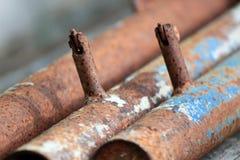 筒形钢是铁锈 库存照片
