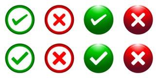 滴答声和交叉按钮 免版税库存图片