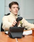 答复的呼叫中心运算符 免版税库存图片