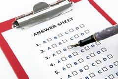 答案纸 免版税图库摄影