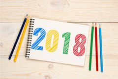 策划在笔记本的2018支铅笔文本 免版税图库摄影