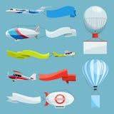 策帕林飞艇和飞机有空的横幅的广告文的 与地方的传染媒介例证您的文本的 库存例证