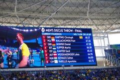 筛选与里约人` s掷铁饼决赛的2016个奥林匹克名字 免版税库存图片