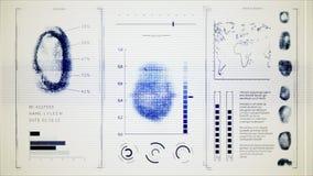 筛选指纹扫描,接口查寻指纹人老喧闹的显示器 皇族释放例证
