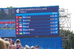 筛选显示人的划船事件的结果在Rio2016 免版税库存照片
