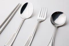 筷子叉子匙子不锈钢 库存照片