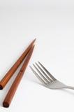 筷子和叉子 免版税库存照片