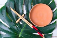 筷子和陶瓷手工制造盘 亚洲概念食物 库存照片