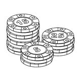 筹码使用 解决硬币在赌博娱乐场 在概述样式传染媒介标志股票例证的Kasino唯一象 向量例证