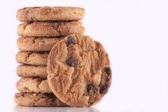 筹码巧克力曲奇饼堆 免版税库存照片