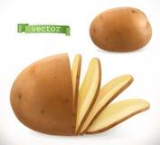 筹码查出土豆白色 3d图标向量 库存例证