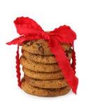 筹码被堆积的巧克力曲奇饼 免版税库存照片