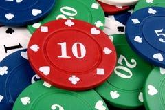 筹码赌博的红色十 免版税库存图片