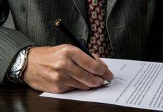 签企业合同 免版税库存图片