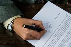 签企业合同 库存照片