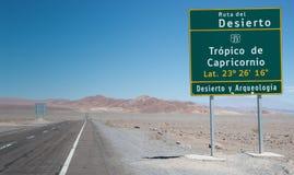 签到指示南回归线的阿塔卡马沙漠 免版税库存图片