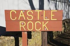 签字到Castle Rock,风景Marblehead,马萨诸塞,美国 库存图片