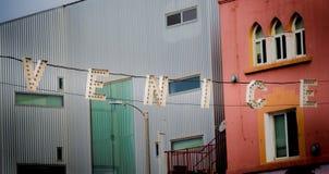 签字在入口到威尼斯木板走道在加利福尼亚 库存图片