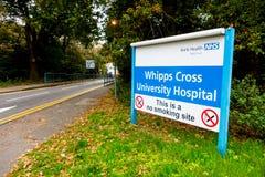 签字在入口到Whipps十字架医院, 免版税库存照片