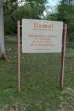 签字在入口对玛雅废墟在乌斯马尔 库存图片